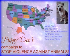 Map of USA Puppy Doe Ambassadors. ALASKA - Tara McCoy ARIZONA - Melanie Quan ARKANSAS- Jody B Merritt FLORIDA- Sherry Resnick , Joanna D Jenkins, Cheryl Robbins, Helen M Conner, Sandi Gizzi, Lisa Malone, Candace Markland HAWAII- Rocco Pazzo INDIANA -Tina Lemarr, Jaime Wallace, Lisa S Barth IOWA- Suzi Anderson KENTUCKY - Heather F Kimbrell LOUISIANA - Gina B Boudreaux MAINE - Eric Grant, Jana Doyle, Judy A Poland, Jen M Esty MARYLAND- Sarah Bssisso MASSACHUSETTS- Cheryl Wallace MISSOURI- Janelle F Holland  NEVADA- Cherilynn Nicole, IreneMaria Carson NEW HAMPSHIRE- Michelle Cassedy NEW JERSEY - Lisa J Nieves, Megan Kim, Patti McCabe, Cynthia Wellington, Lisa Hessler OHIO- Tiffany Ballard, Darlene Ferraro, Wendy Sheldon, Sarah Smith PENNSYLVANIA- LuAnn Keller SOUTH CAROLINA- Becky Cintron TENNESSEE- Carol Quinsenberry WISCONSIN- Margaret Lilly, Sherry Wheeler, Nikki Li
